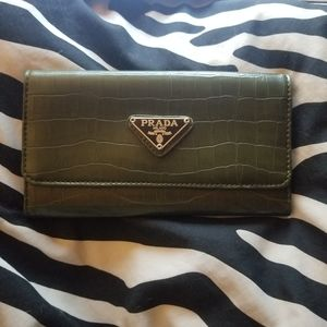Olive green prada leather trifold womans wallet